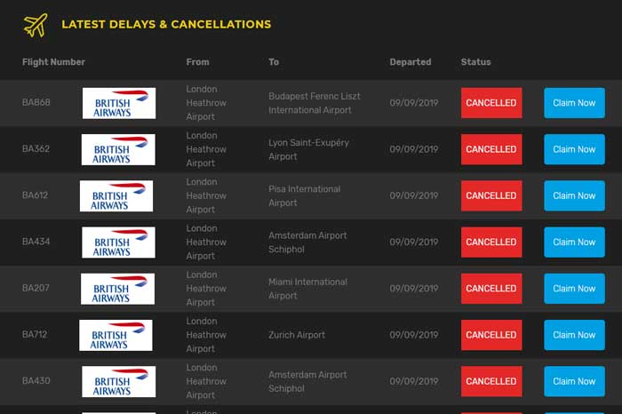 British Airways cancelled flights list